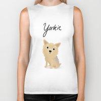 yorkie Biker Tanks featuring Yorkie - Cute Dog Series by Cassandra Berger