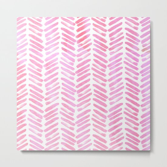 Handpainted Chevron pattern - pink and pink ;) Metal Print