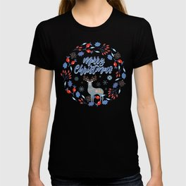 Merry Christmas Scandinavian Deer and Floral Wreath T-shirt
