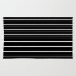 Thin White Lines - Blakc and white stripes Rug