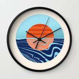Sweetness - retro minimal 70s style throwback sunset sunrise ocean socal art Wall Clock
