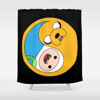finn and jake Shower Curtains featuring Finn & Jake Yin Yang by bitobots
