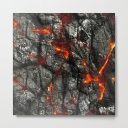 Fiery lava glowing through dark melting stone Metal Print