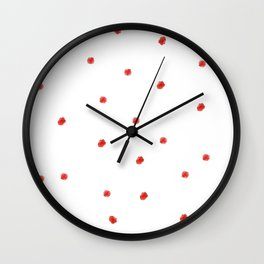 Red poka dots on big teapot Wall Clock