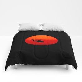 Vietnam Helicopter Sunset Comforters