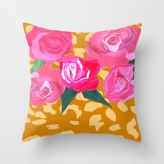 Floral and Tiger Print Throw Pillow