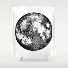 Negative Full Moon Print, by Christy Nyboer Shower Curtain