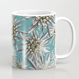Mum Floral Pattern - Mum's the word - Auqa and White Floral Design - White Mum Flowers - I Love my M Coffee Mug