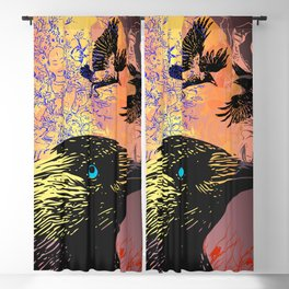 White Tara and Her Crows Blackout Curtain