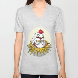 Mother hen with her cute cartoon chicks Unisex V-Neck