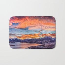 Sunset Pano // Beautiful Rocky Mountain Lake View Colorado Red Orange Sky Bath Mat