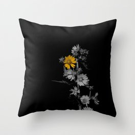 Partial Color Flower Throw Pillow