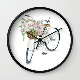 Vintage White Bicycle with English Roses Wall Clock