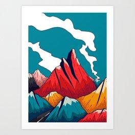 Smoke trail mountains Art Print