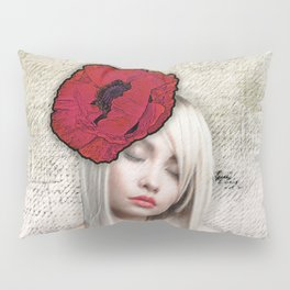 Girl with Poppy Flower Pillow Sham