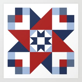 Red White and Blue Quilt Pattern Art Print
