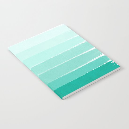 Ombre - Brushstroke Green/Blue Ocean Ombre, girly trend, dorm decor, cell phone, beach, summer,  Notebook