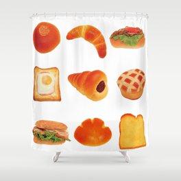 japanese kawaii breads Shower Curtain