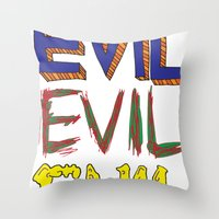 evil Throw Pillows featuring Evil by Michael Interrante