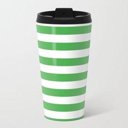 Even Horizontal Stripes, Green and White, M Travel Mug