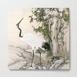 Crane and Chinese Roses Metal Print