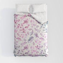 Modern pink lavender teal watercolor botanical floral Comforters