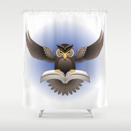 Brown Owl fly with the book Shower Curtain