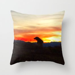 Black Dog Red Throw Pillow