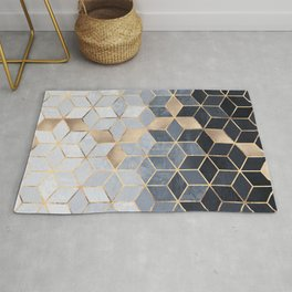 Soft Blue Gradient Cubes Rug