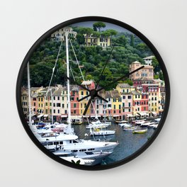 Portofino Harbour Italy Wall Clock