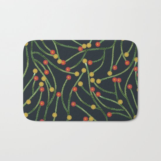 Yellow & Red Flowers Bath Mat