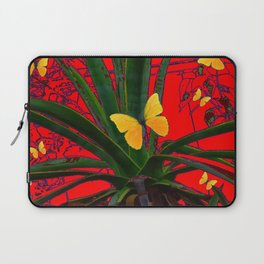 RED SURREAL GREEN AGAVE & YELLOW BUTTERFLIES  ART Laptop Sleeve