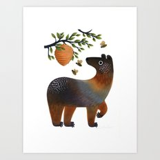 Bear With Bee Art Print