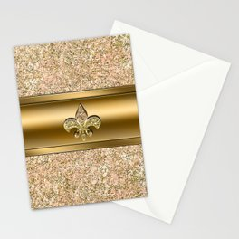 Pink & Gold Glitter Fleur De Lis Stationery Cards