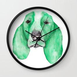 Green Basset Hound Wall Clock
