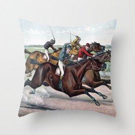 HORSE RACE Pop Art Throw Pillow