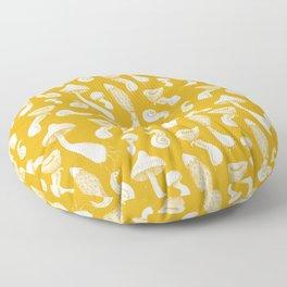 Ink Mushrooms - mustard Floor Pillow