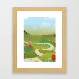Cartoon hilly landscape Framed Art Print