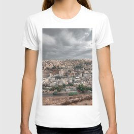 Overlooking the city of Amman in Jordan with Roman Theatre seen from Citadel T-shirt