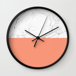 peach marble orange and white marble Wall Clock