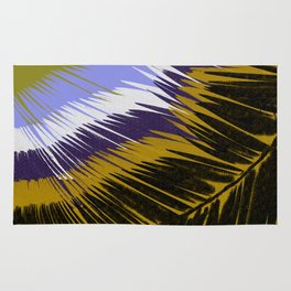 Palm Leaves Purple and Gold Rug