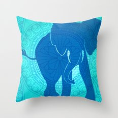 Turquoise Elephant  Throw Pillow