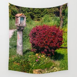 Wayside cross and a bush Wall Tapestry