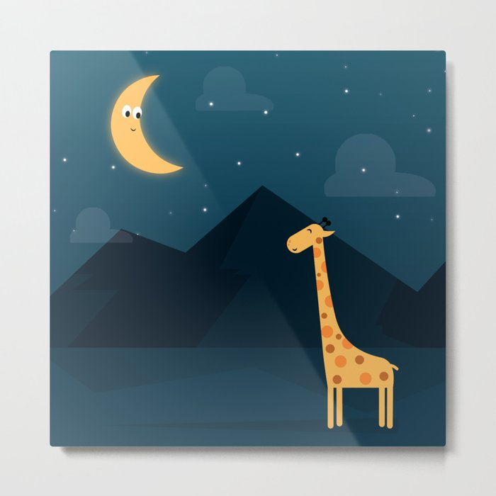 The Giraffe and the Moon Metal Print