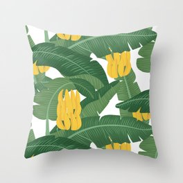 Bananas and Leaves - Bg White Throw Pillow