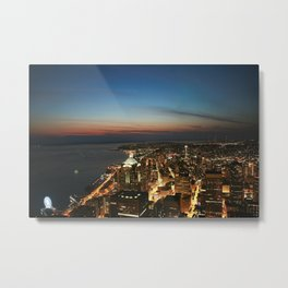 Amazing Night Photo Of Seattle  Metal Print