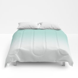 Ombre Duchess Teal and White Smoke Comforters