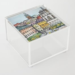 Watercolor Oldtown Stockholm Sweden Acrylic Box