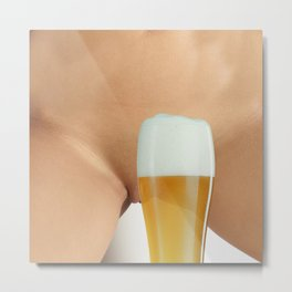 Beer and Naked Woman Metal Print