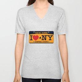 I love NY New York Car Licence Plate Unisex V-Neck